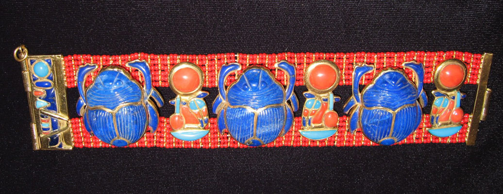 Gold, Lapis, Carnelian, and Turquoise Scarab Bracelet in the Style of Tutankhamun