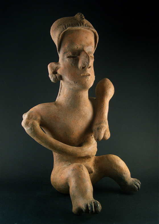 San Sebastián Style Nayarit Sculpture of a Seated Man Holding a Baton
