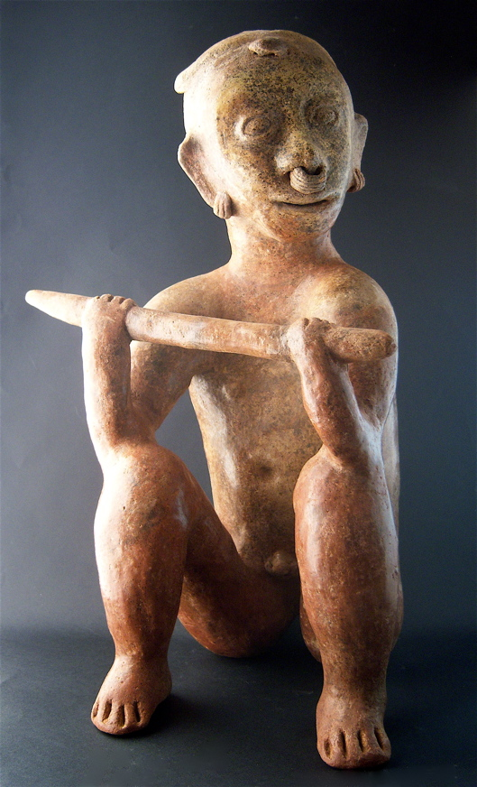 Chinesco Style (Type E) Nayarit Terracotta Sculpture of a Seated Warrior