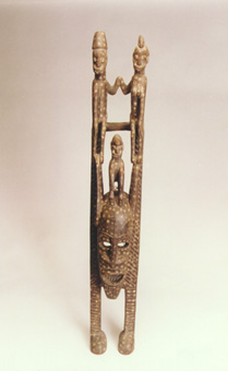 Senufo Wooden Mask Featuring the King and Queen