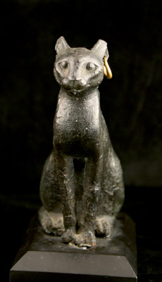 Late Dynastic Period Bronze Sculpture of a Cat with a Gold Earring