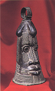 Yoruba Bronze Ritual Bell in the Form of a Face