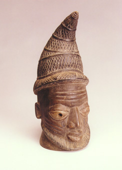 Benin Style Wooden Head of an Oba