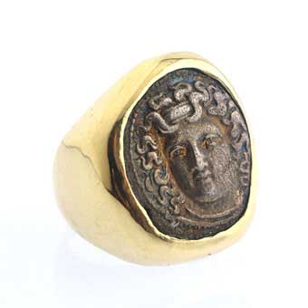 Gold Ring Featuring a Silver Coin of City of Larissa in Thessaly