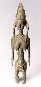 Bambara Wooden Guannyeni Sculpture of a Standing Woman