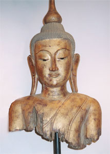Shan Gilt Wood Torso of Buddha