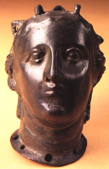 Roman Period Bronze Bust of a Woman