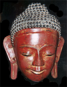 Shan Gilt and Red Lacquered Wooden Head of Buddha