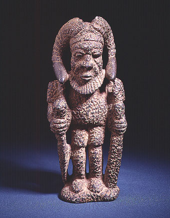 Kissi Stone Pombo Sculpture of a Horned Man