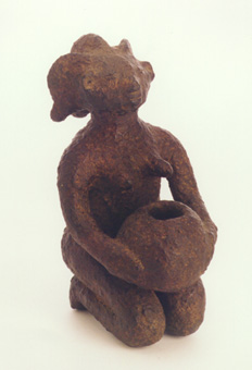 Luba Terracotta Sculpture of a Kneeling Woman Holding a Bowl