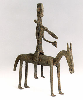 Dogon Iron Sculpture of a Man Riding a Horse