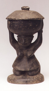 Yoruba Wooden Divination Bowl Supported by a Kneeling Woman