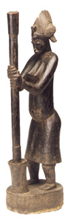 Senufo Wooden Sculpture of a Woman Pounding Grain
