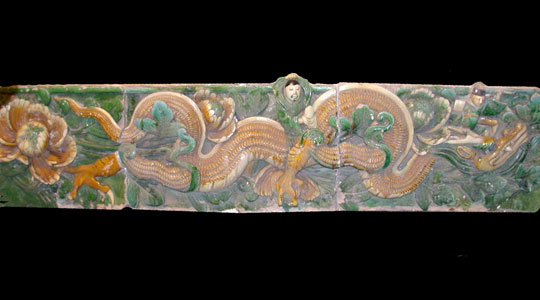 Ming Glazed Terracotta Temple Wall Tiles Depicting a Dragon