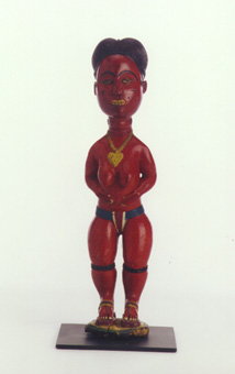 Baule Polychrome Colonial Sculpture of a Woman