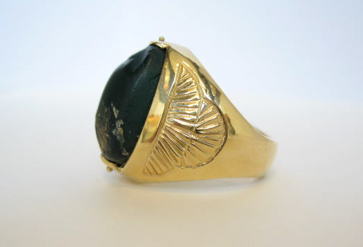 Gold Ring with Black Scarab