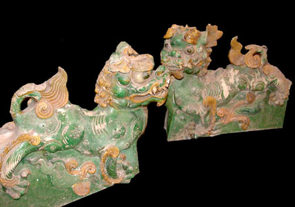Pair of Glazed Terracotta Architectural Sculptures of Dragons