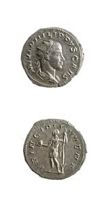 Silver Antoninianus of Phillip II Struck While Caesar