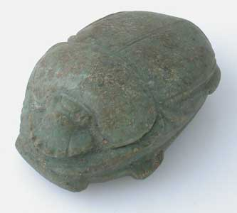Middle/New Kingdom Green Stone Heart Scarab