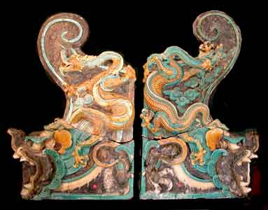 Pair of Ming Glazed Terracotta Architectural Tiles Depicting Dragons
