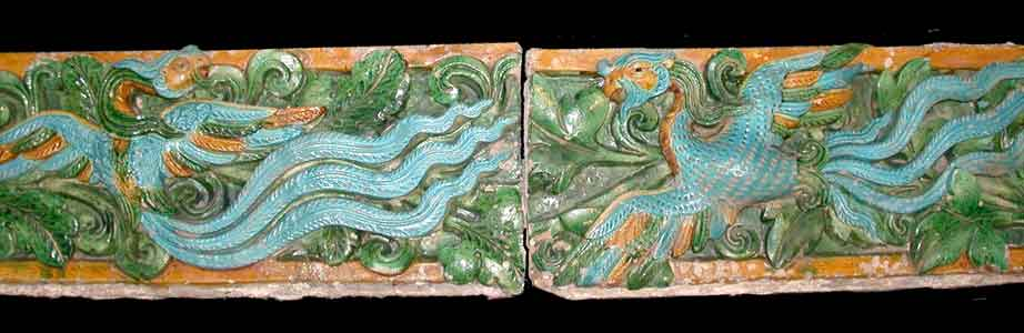 Pair of Ming Glazed Terracotta Temple Wall Tiles Depicting Phoenixes
