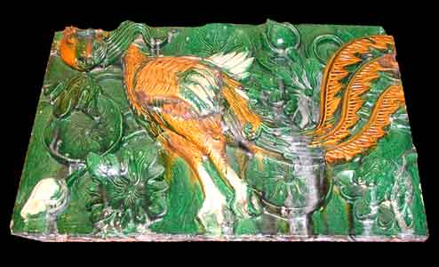 Ming Glazed Terracotta Temple Wall Tile Depicting a Phoenix