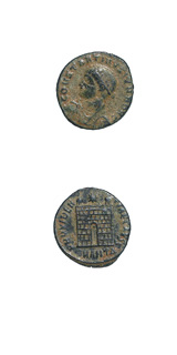 Bronze Follis of Constantine II Struck While Caesar