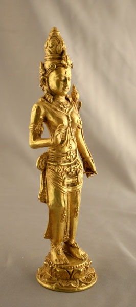 Indonesian Gold Sculpture of standing Prajnaparamita