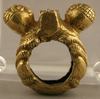 Akan Gold Ring with Two Heads