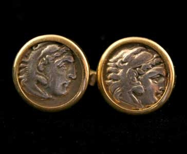 Pair of 18 Karat Gold Cufflinks Featuring Silver Drachms of Alexander the Great