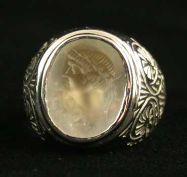White Gold Ring Featuring a Roman Rock Crystal Intaglio of the Bust of an Emperor