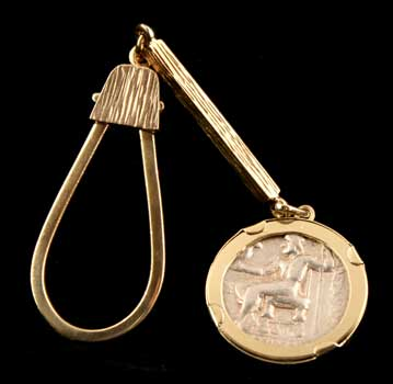 Gold Key Chain Featuring a Silver Tetradrachm of Alexander the Great