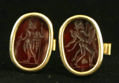 Gold Cufflinks Featuring Two Classical Revival Carnelian Seals