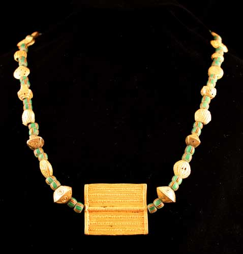 Akan Gold and Venetian Glass Trade Bead Necklace