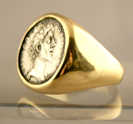 Gold Ring Featuring a Roman Silver Denarius of Marcus Aurelius Struck While Caesar