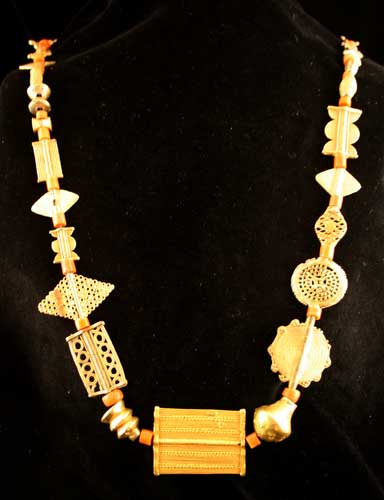 Coral and Akan Gold Bead Necklace