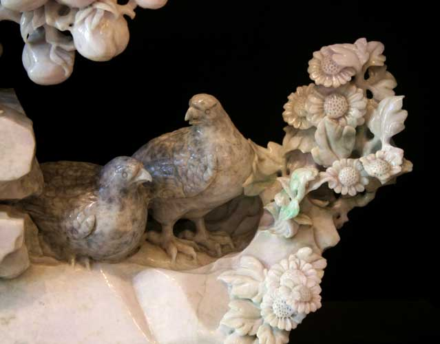Lavender Jade Sculpture of a Fruit Tree and Birds