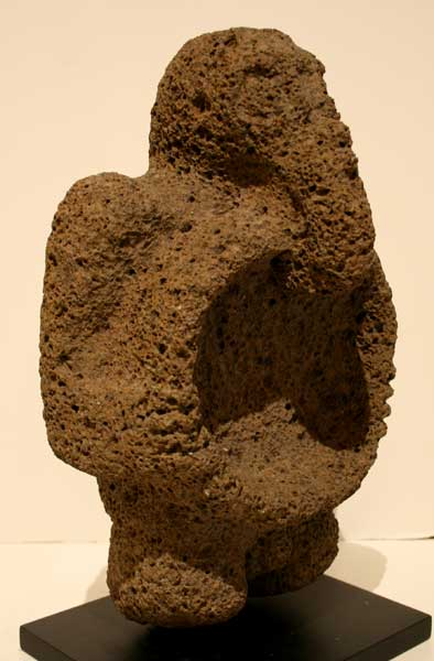 Basalt Mortar Featuring an Avian Masked Man