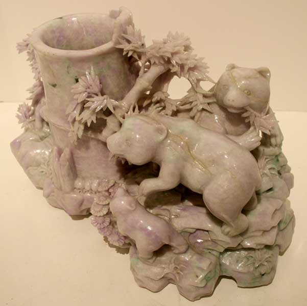 Lavender Jade Brush Pot with Bears