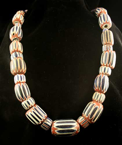 Venetian Glass Chevron Trade Bead Necklace