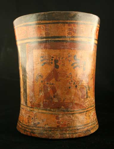 Mayan Terracotta Cylindrical Vessel