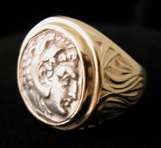 Gold Ring with Silver Drachm of King Alexander the Great