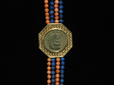 Lapis and Coral Beaded Necklace Featuring a Roman Bronze Coin of Emperor Diocletian