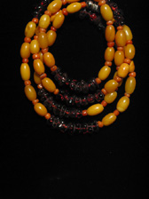 Amber, Garnet And Coral Bead Necklace