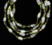 Moonstone, Garnet And Peridot Bead Necklace