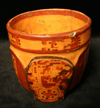 Mayan Polychrome Cylindrical Vessel