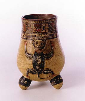 Guanacaste-Nicoya Tripod Vessel with a Monkey