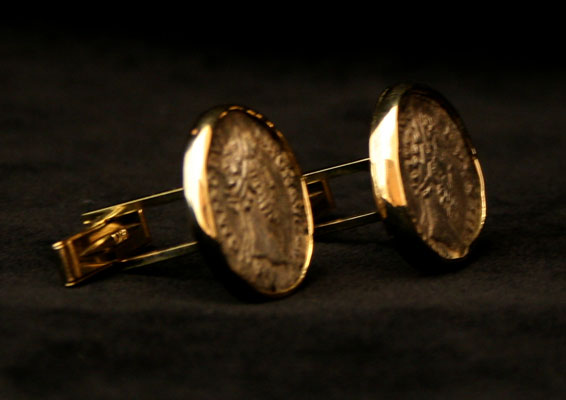 Cufflinks Featuring a Pair of Roman Silver Coins of Emperor Commodus