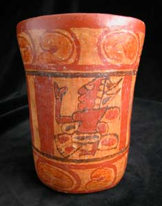 Mayan Copador Painted Cylindrical Vessel