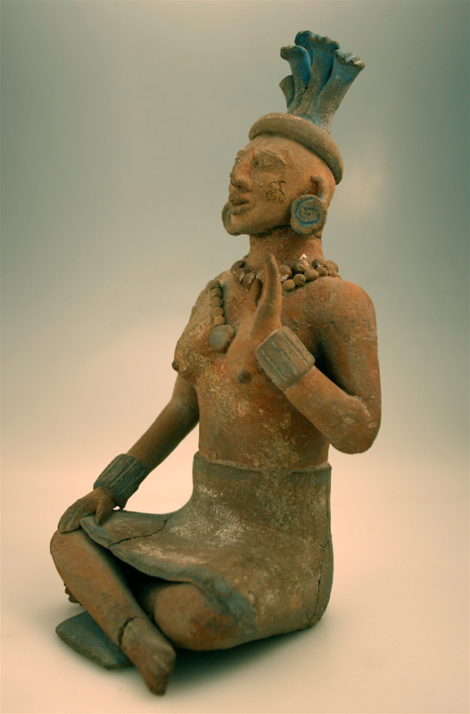 Jaina Style Mayan Terracotta Sculpture of a Seated Woman